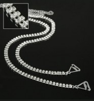 Bra Straps - Two-row Crystal Chain Strap - Clear