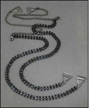 Bra Straps - Two-row Crystal Chain Strap - Black
