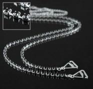 Bra Straps - Single Line Crystal Chain Strap - Black