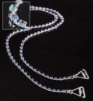 Bra Straps - Single Line Crystal Chain Strap - Blue