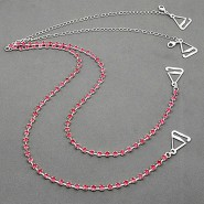 Bra Straps - Single Line Crystal Chain Strap - Pink