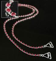 Bra Straps - Single Line Crystal Chain Strap - Red