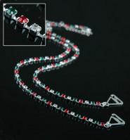 Bra Straps - Single Line Crystal Chain Strap - Red & Green