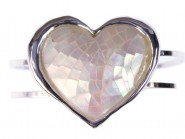 Hinge Bracelets -Mother of Pearl Heart Charm - BR-OB02069MPWHT