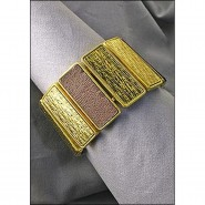 Casting Silver Deco Design Bar Stretchable Bracelet - Gold Multi - BR-ACQB2069GM