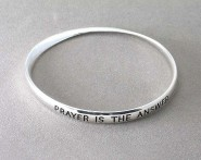 "Religious Theme Bangle - Single Twist - "" Prayer is the Answer "" - BR-B8959LATS"