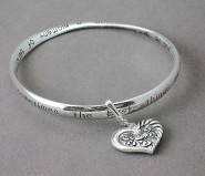 Religious Theme Bangle - Single Twist w/ Antique Look Heart Charm - BR-B8965LATS