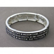 Religious Stretchable Bracelet - Epoxy - Lord's Prayer - Lead Compliant - BR-B9158LSJET