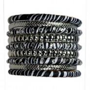 Stackable Bangle Bracelets Set - Zebra Print - BR-FB423RHZE