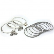 Charm Bracelets + Metal Bangles Set - BR-HB003B-WH