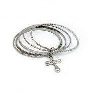 Bangle Set - Multi Metal Bangles Set w/ Cross Charm - BR-HB005B