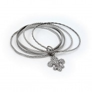 Bangle Set - Multi Metal Bangles Set w/ Rhinestone Fleur De Lis