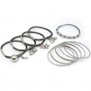 Charm Bracelets + Metal Bangles Set - BR-HB007B-BD