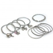 Charm Bracelets + Metal Bangles Set - BR-HB007B-SIL