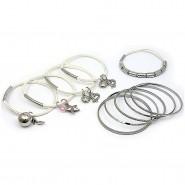 Charm Bracelets + Metal Bangles Set - BR-HB007B-WH