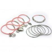 Charm Bracelets + Metal Bangles Set - BR-HB032B-LRO