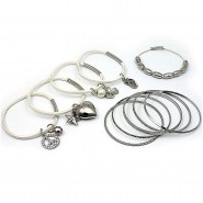 Charm Bracelets + Metal Bangles Set - BR-HB032B-WH