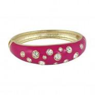 Bangle Bracelets - Eproxy w/ Clear Stones - Fuchsia - BR-JB7189FU