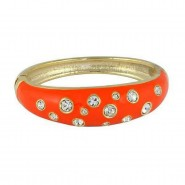 Bangle Bracelets - Eproxy w/ Clear Stones - Orange Color - BR-JB7189OG