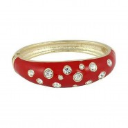Bangle Bracelets - Eproxy w/ Clear Stones - Red