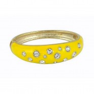 Bangle Bracelets - Eproxy w/ Clear Stones - Yellow