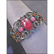 Antique Silver Look Bangle w/ Center Glittery Oval Stone - Pink Color - BR-KH10602PK