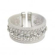 Mesh Bracelets w/ Clear Rhinestone & Chain Linear - Silver - BR-MB1110SV