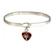 Charm Bracelets - Heart Charm Bangle - BR-OB00098ASRED