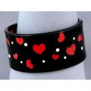 Acrylic Bangle w/ Enamel Hearts & Rhinestones Bracelets - Black -BR-OB00139BLK