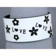Overlayer Love Bangle - Acrylic - White Color - BR-OB00153WHT