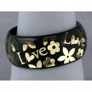 Acrylic Bangle w/ Loves & Flowers Bracelets - Black Color - BR-OB00182BLK