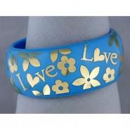 Acrylic Bangle w/ Loves & Flowers Bracelets - Blue - BR-OB00182BLU