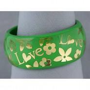Acrylic Bangle w/ Loves & Flowers Bracelets - Green Color - BR-OB00182GRN