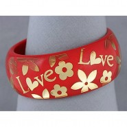 Acrylic Bangle w/ Loves & Flowers Bracelets - Red Color - BR-OB00182RED