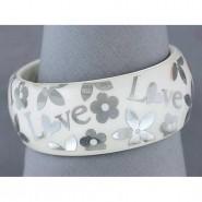 Acrylic Bangle w/ Loves & Flowers Bracelets - White Color - BR-OB00182WHT