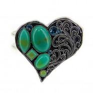 Hinge Bracelets- Faux Stone Casting Heart Bracelets - BR-OB00325ASTQS