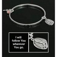 Religious Bangle Bracelets w/ Fish & Bead Charm - BR-OB00360AS