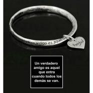 Religious Twist Bangle Bracelets w/ Heart Charm - BR-OB00383AS