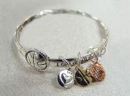 Message Twist Bangle Bracelets - w/ Multi Charms - BR-OB00584AS