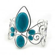 Cuff Bracelets - TQ Beaded Fleur De Lis Bracelets - BR-OB01956RD