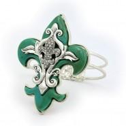 Hinge Bracelets - Fleur De Lis Charm - BR-OB02155TQS