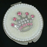 Pocket Mirror - Rhinestone Crown - Ivory -MR-GM1253V