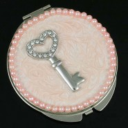 Pocket Mirror - Rhinestone Key - Pink -MR-GM1254/PN