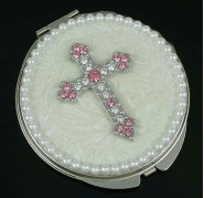 Pocket Mirror - Rhinestone Cross - Ivory - MR-GM1255V