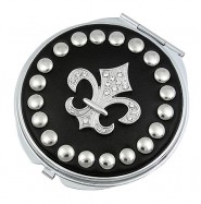 Pocket Mirror - Studded Fleur De Lis - Black -MR-GM1270B