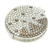 Pocket Mirror - Rhinestone Fabric/ Round - Clear -MR-GM1305CL
