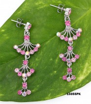 Crystal Earrings  - Pink - ER-13355PK