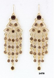 Swarovski Crystal Chandelier Earrings - Topaz - ER-1478GD-TP