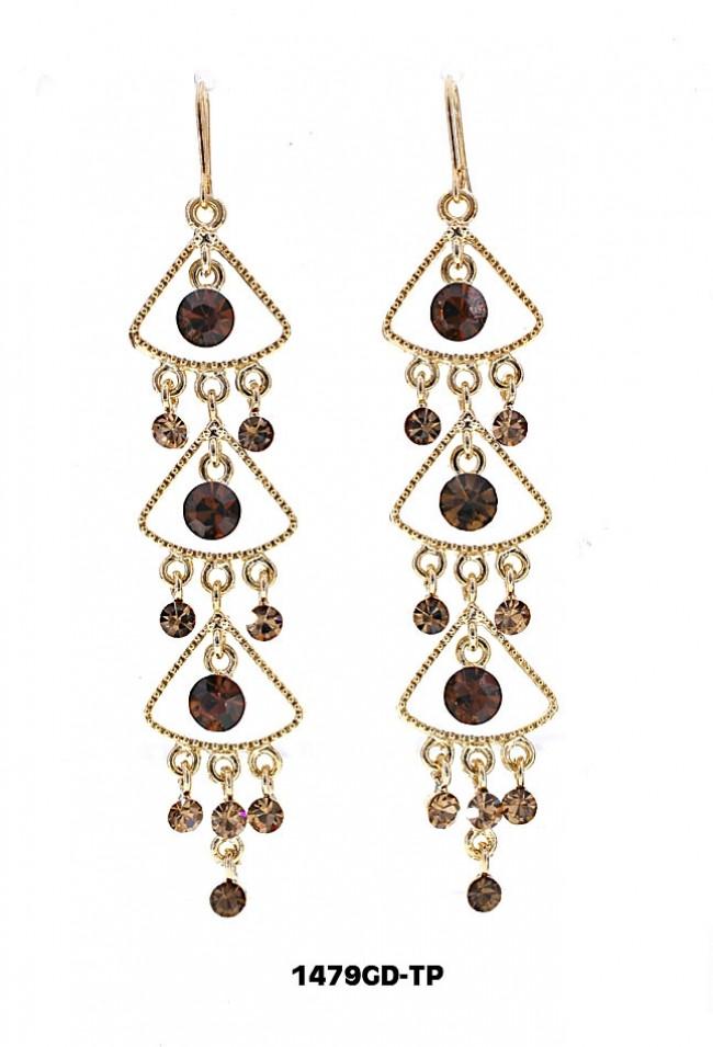 Swarovski Crystal Chandelier Earrings - Topaz - ER-1479GD-TP