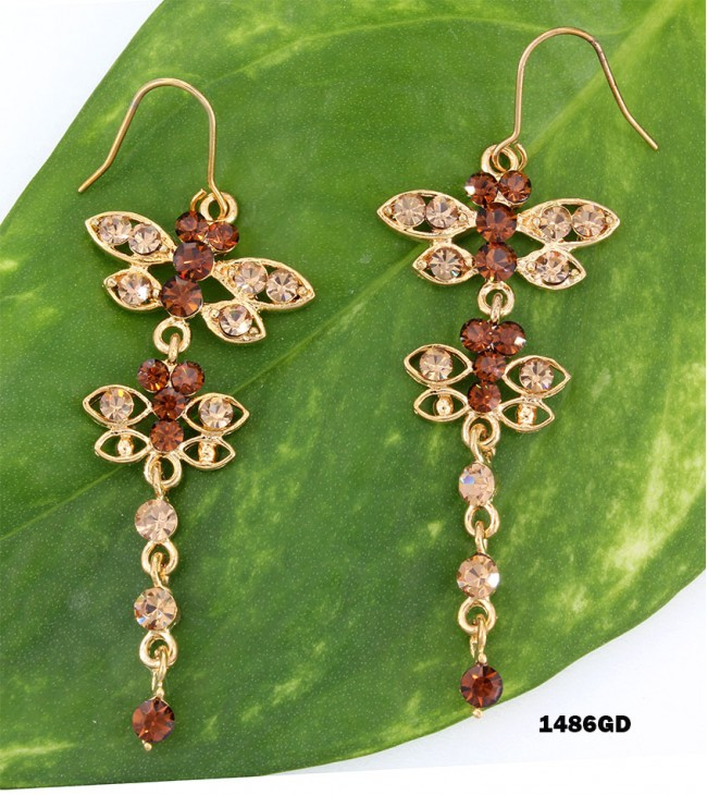 Swarovski Crystal Butterfly Earrings - ER-1486GD